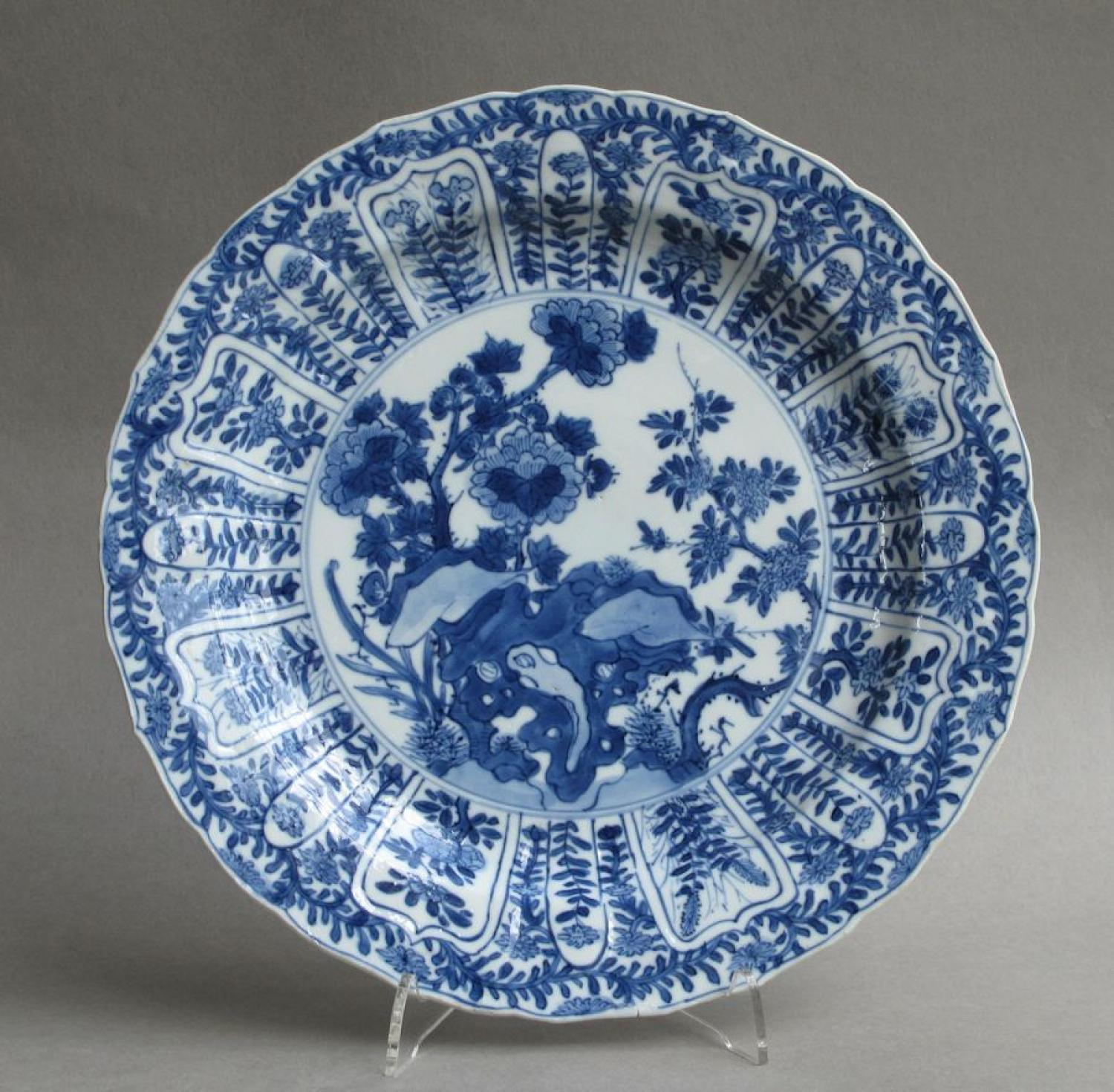 Chinese moulded blue and white plate, Kangxi