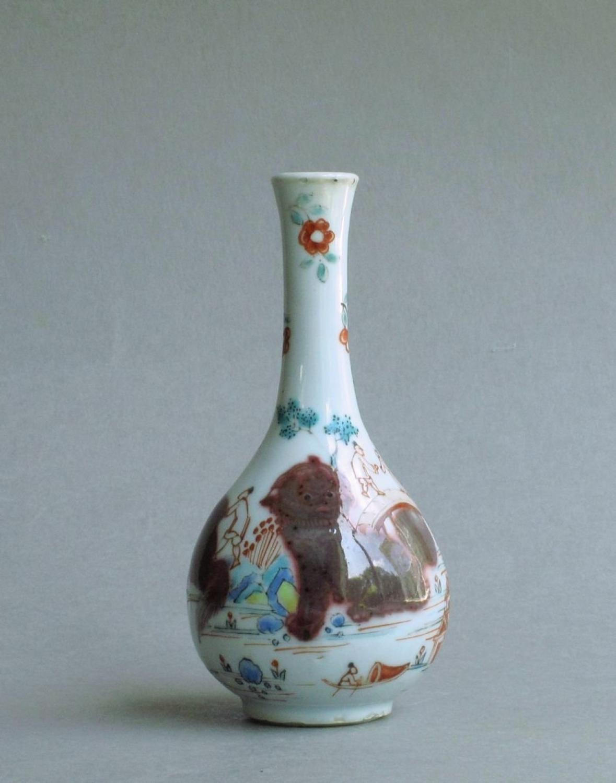 A Dutch-decorated underglaze red vase Kangxi