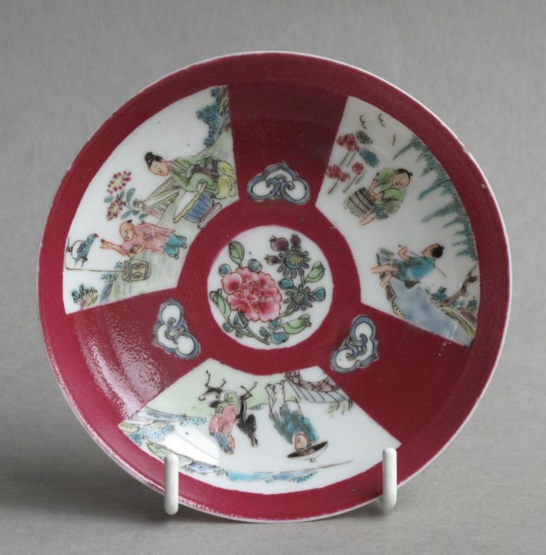 Chinese ruby ground saucer c1730-50