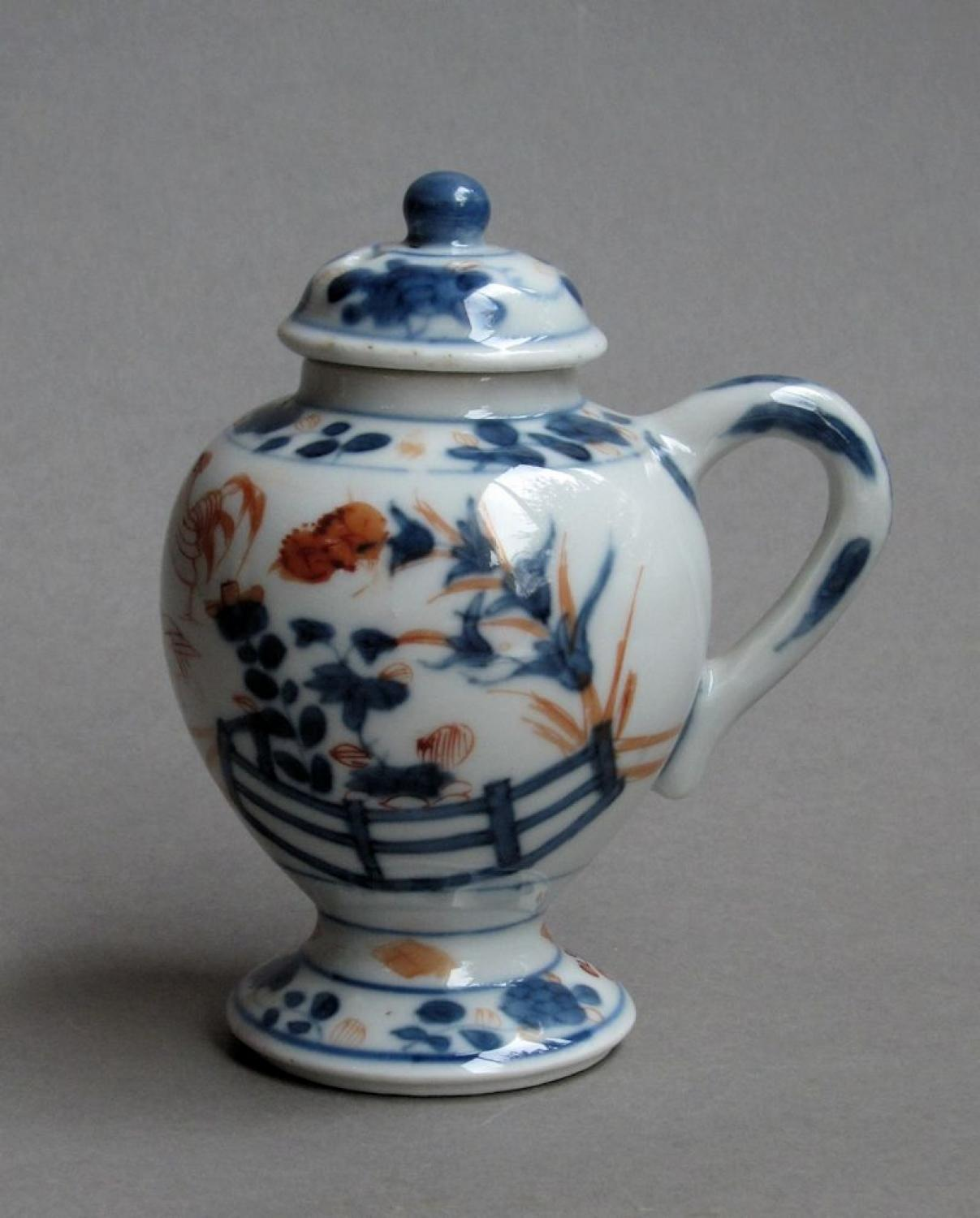 Chinese Imari mustard pot and cover, Kangxi