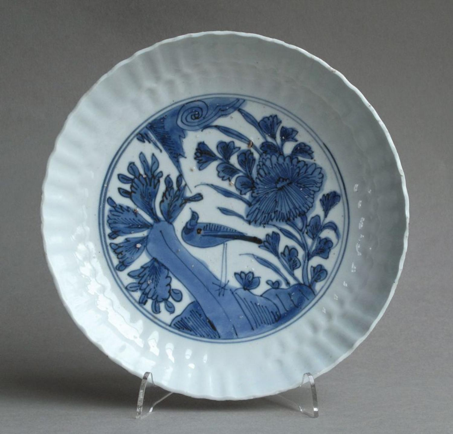 A Chinese late Ming Kraak moulded dish, Wanli