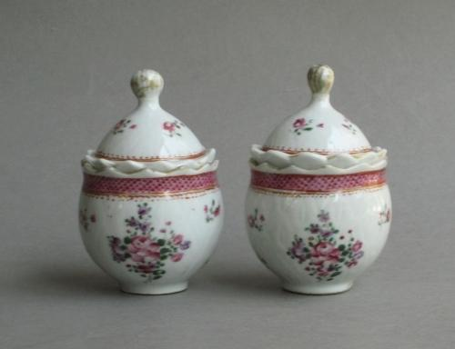 A pair of famille rose covered jars, Qianlong