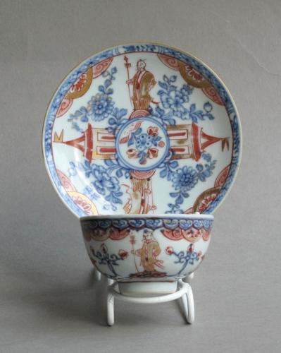 European-decorated Chinese teabowl & saucer
