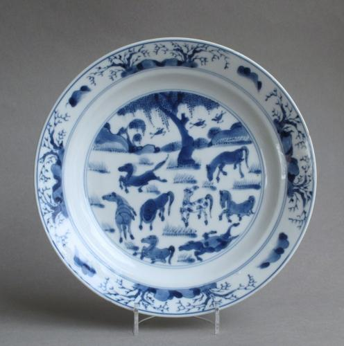 Chinese 8 horses of Wang Mu plate Kangxi