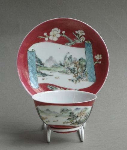 Chinese ruby ground teabowl & saucer c1730-40