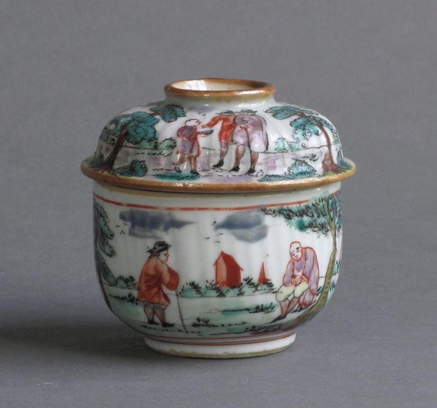 Dutch decorated Chinese pot and cover