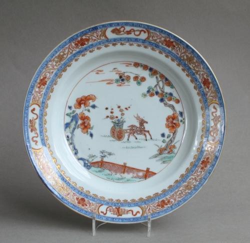 Chinese verte Imari plate, Yongzheng