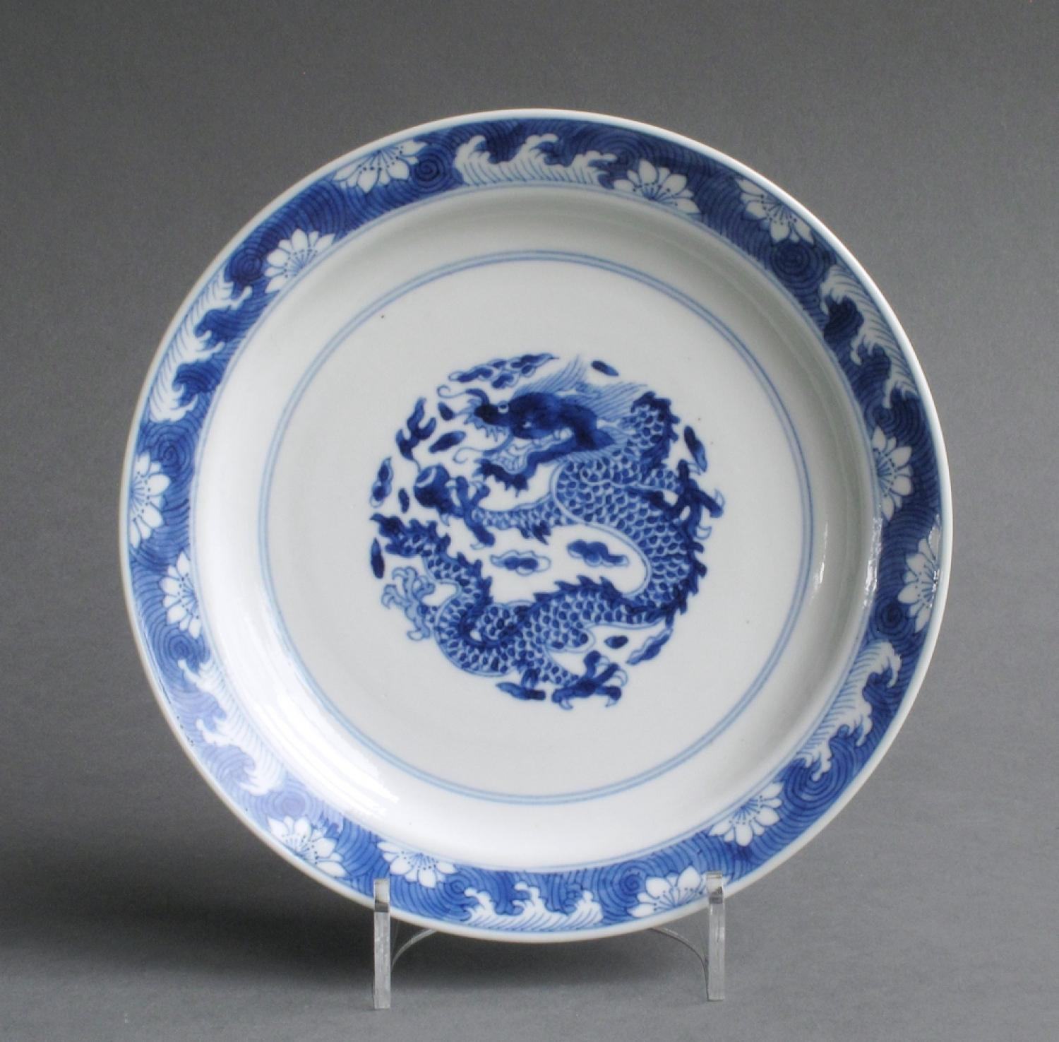 Good quality Chinese dragon plate, Kangxi