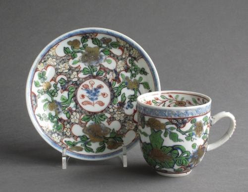 Chinese coffee cup & saucer with London decor