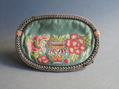 Finely embroidered Chinese silk purse