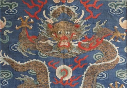 A Chinese silk kesi dragon