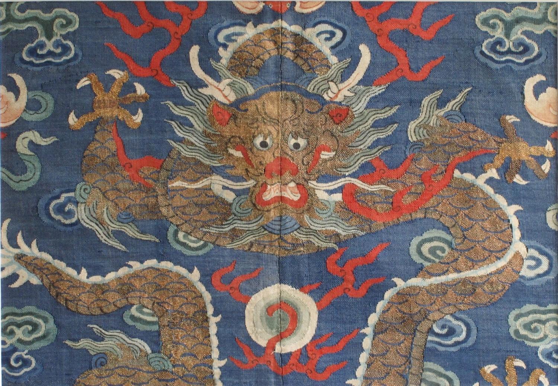 A Chinese silk kesi dragon
