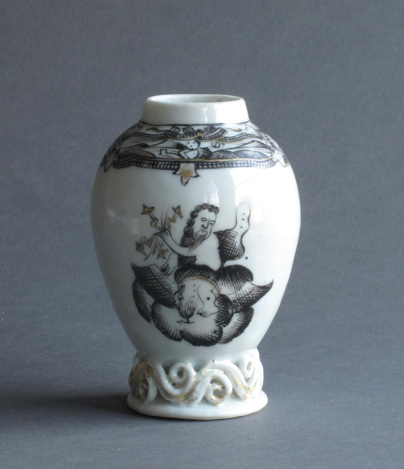 Chinese export grisaille tea canister c1750