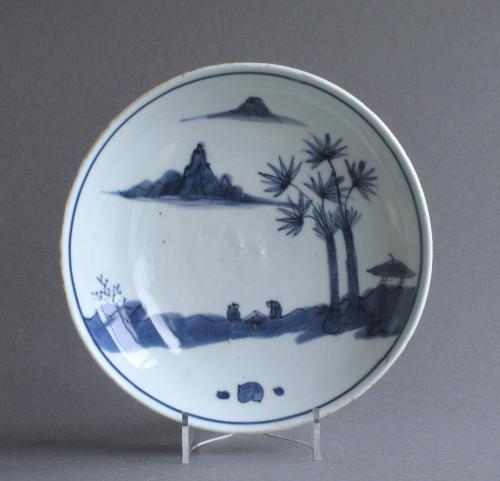 A Chinese late Ming dish with scholars