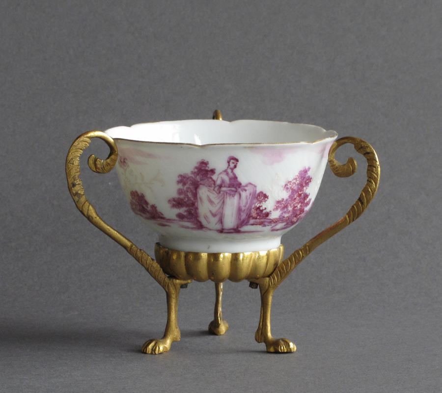 European-decorated & ormolu Chinese tea bowl