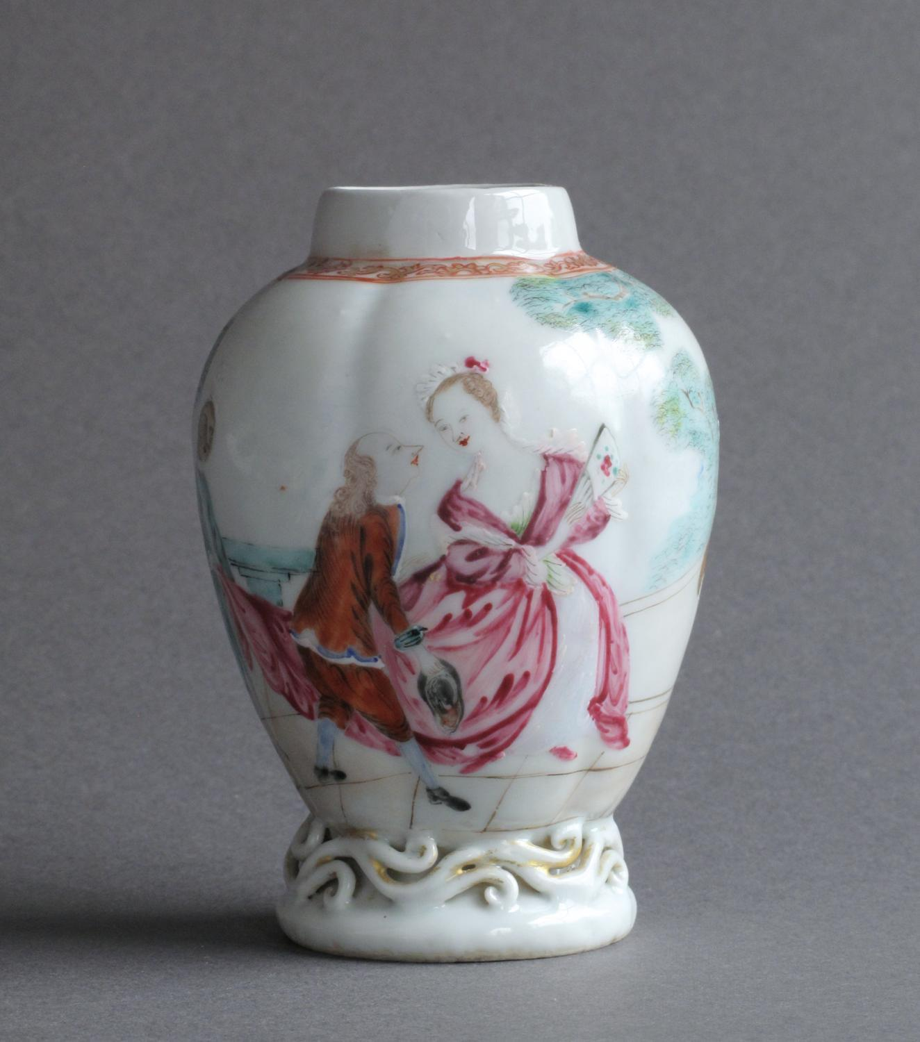 Chinese European subject tea canister