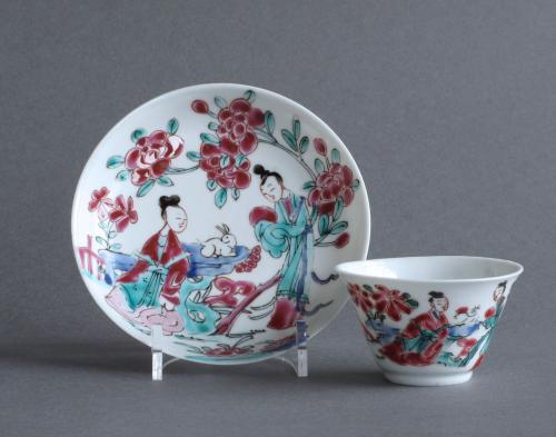 Chinese famille rose teabowl & saucer