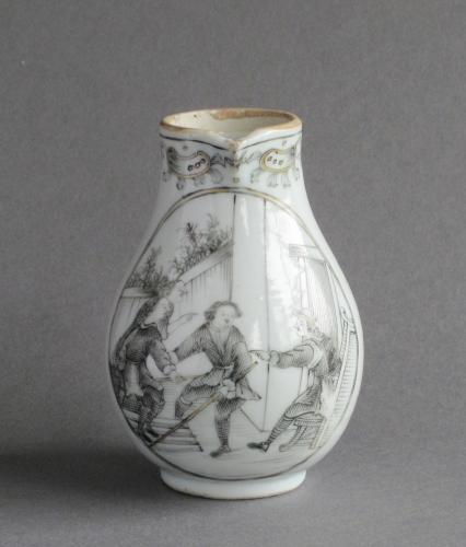 A Chinese grisaille European subject milk jug