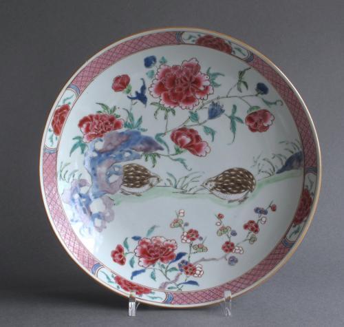 Chinese famille rose '2 quail' dish Yongzheng