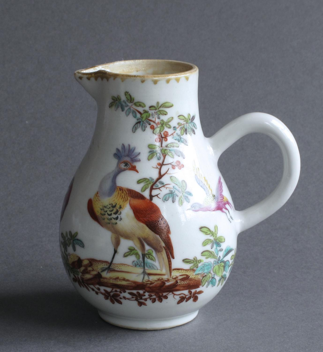 Chinese milk jug with London decoration c1760