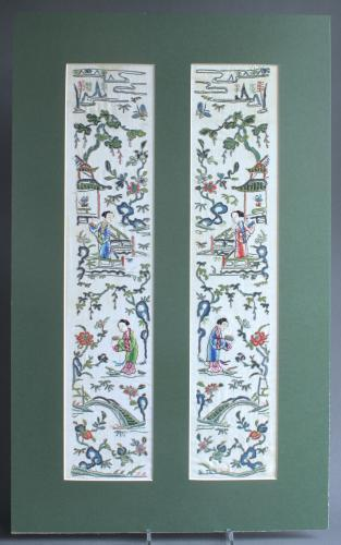 Pair of late C19th Chinese silk sleeve bands