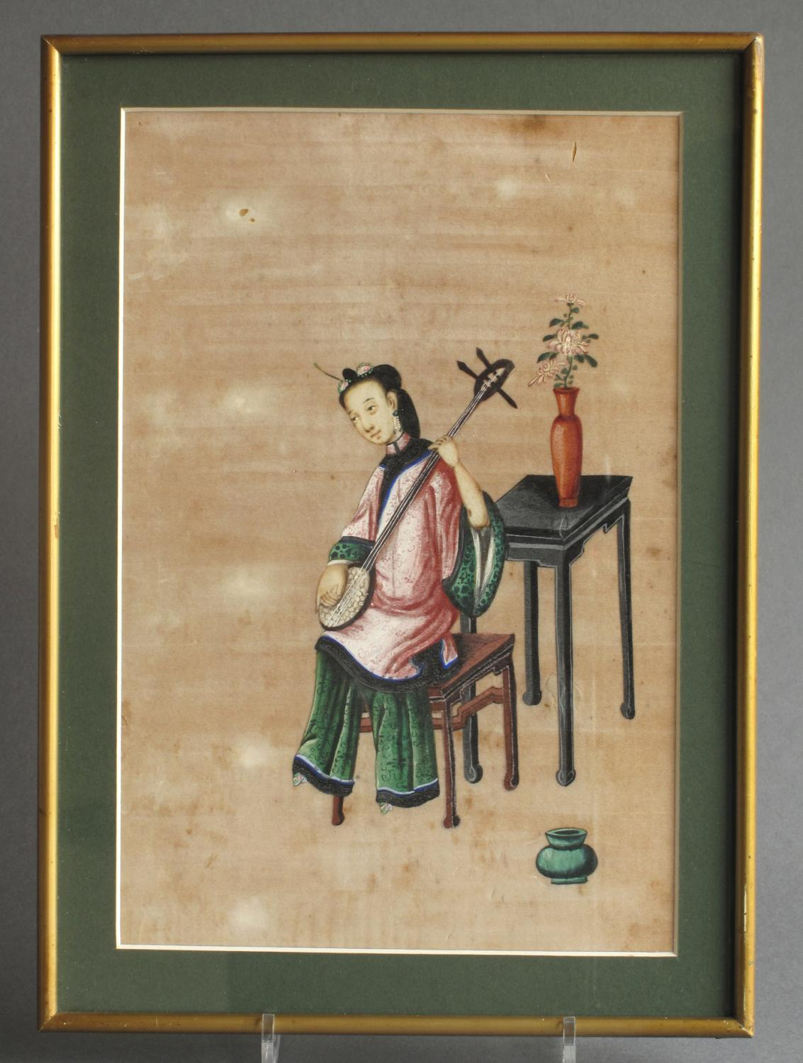 A set of 4 Chinese pith pictures of musicians
