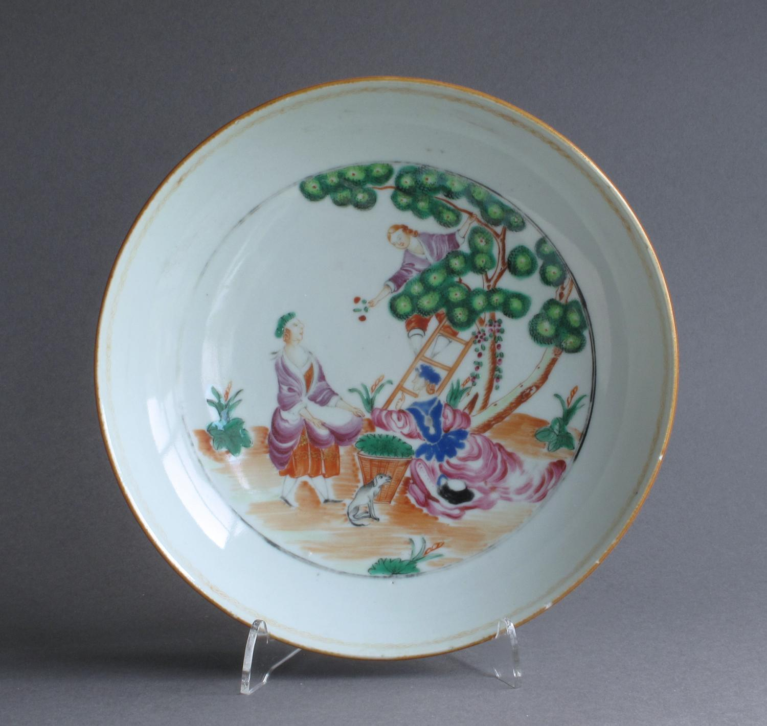 A Chinese export Cherry Picker dish Qianlong