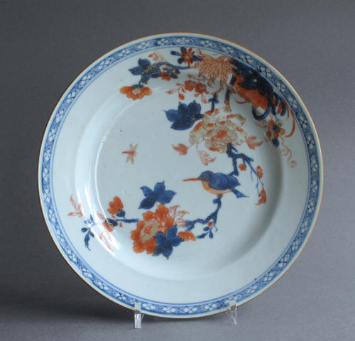 A Chinese Imari plate with Kingfisher