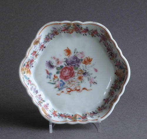 Chinese export famille rose teapot stand Qianlong