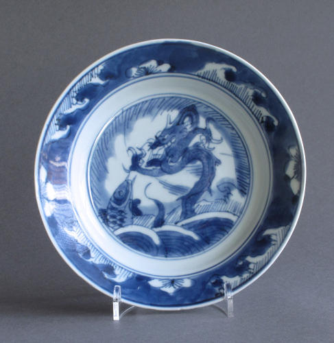 Chinese dragon and carp plate, Kangxi