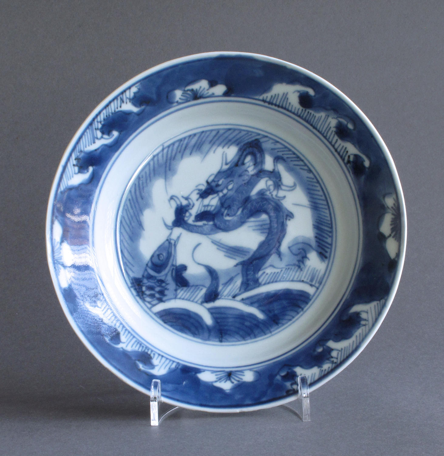 Chinese dragon and carp plate, Kangxi