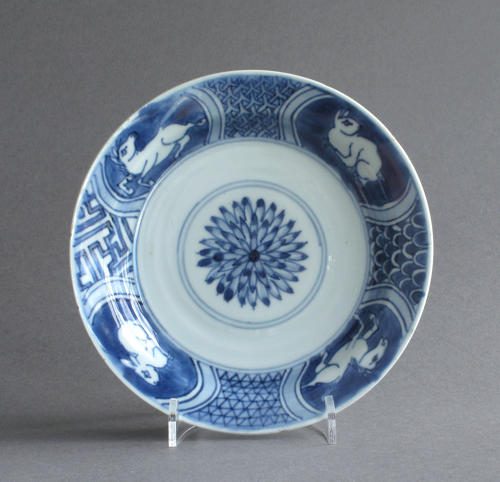 A Chinese late Ming dish with hares & horses