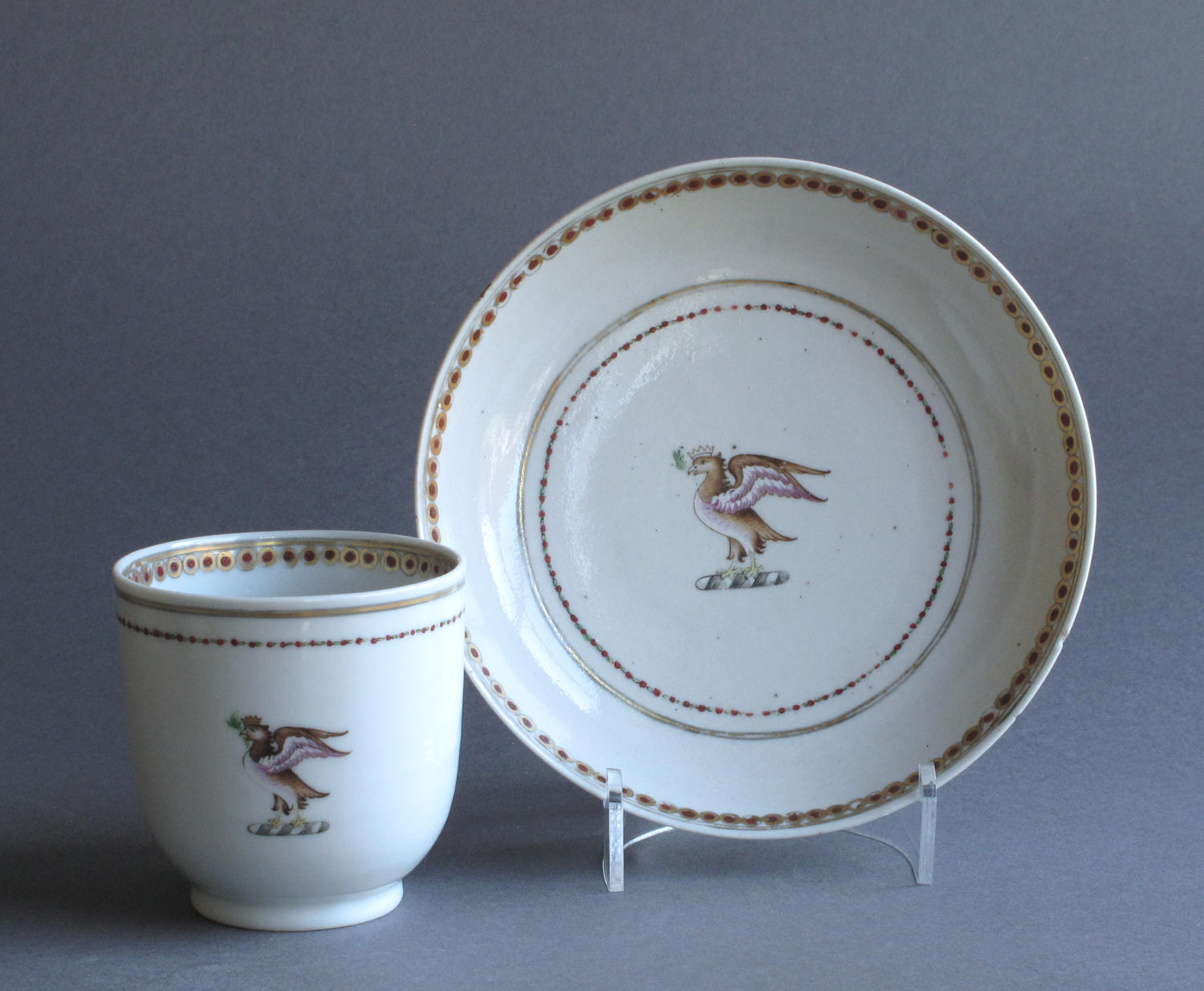 A Chinese armorial coffee cup & saucer Qianlong
