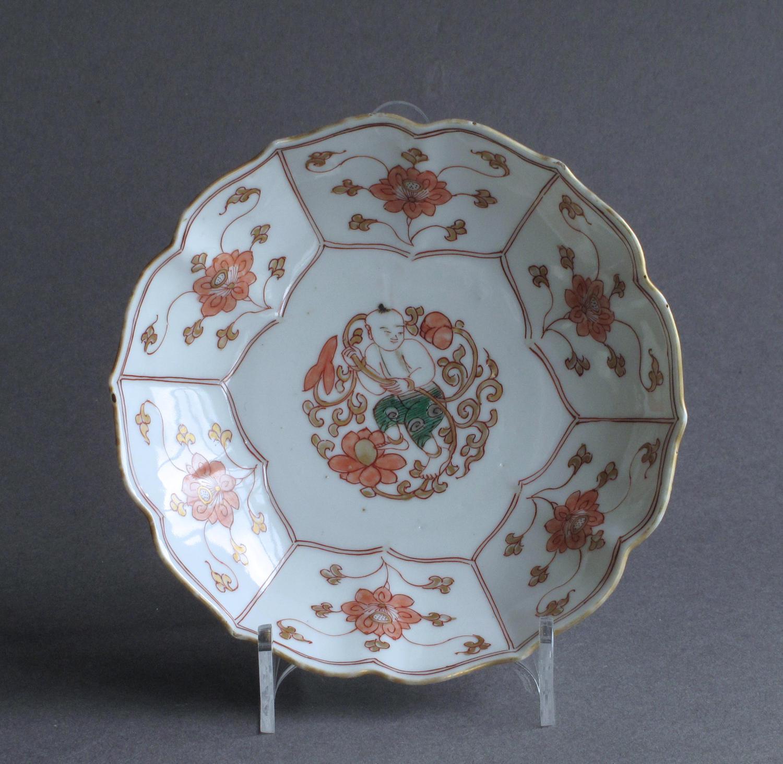 A Chinese verte Imari child and lotus dish, Yongzheng