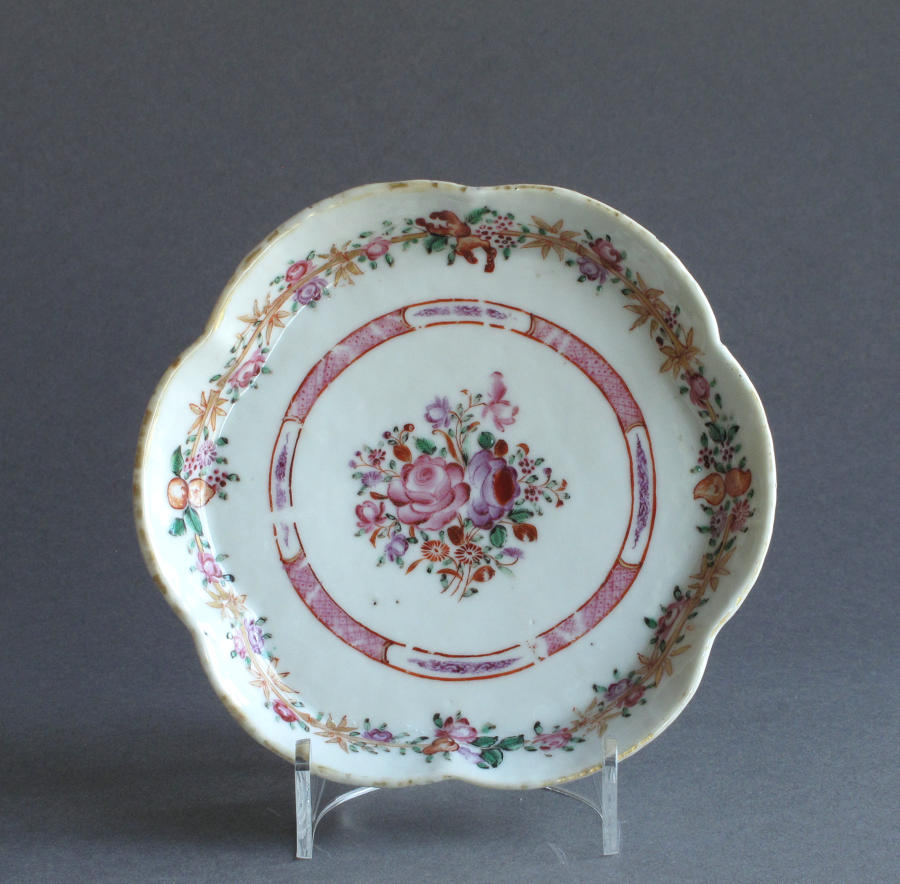 A Chinese export famille rose teapot stand, Qianlong