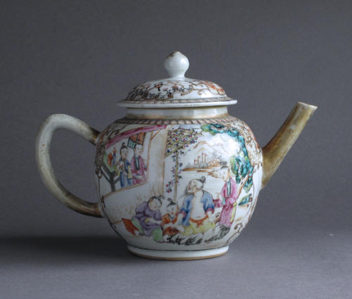 A Chinese export famille rose Mandarin style teapot Qianlong