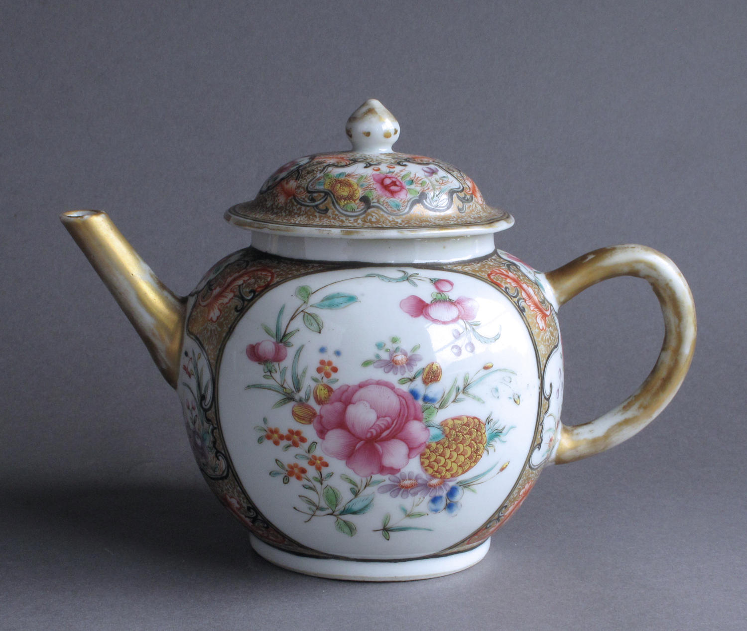 An unusual large Chinese export famille rose teapot