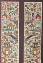 A framed finely worked pair of Chinese silk sleeve bands, C19th - picture 2