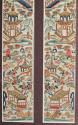 A framed finely worked pair of Chinese silk sleeve bands, C19th - picture 3
