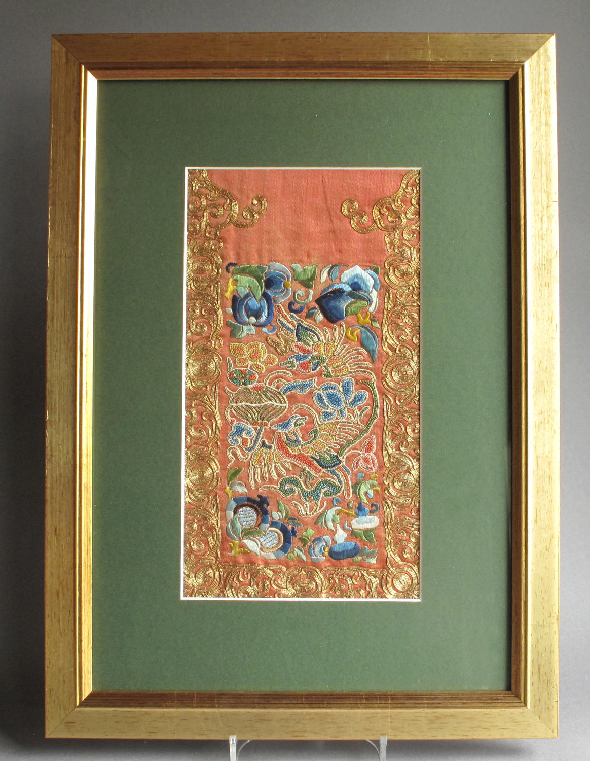 A Chinese silk panel from a Han-style wedding skirt, late C19th