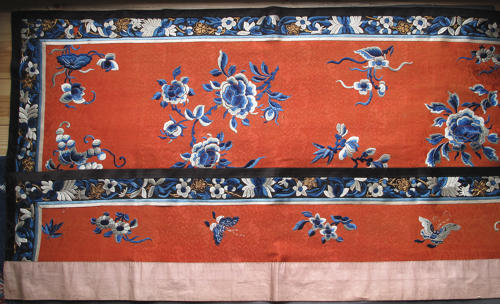 A Chinese late C19th silk altar cloth or bed hanging