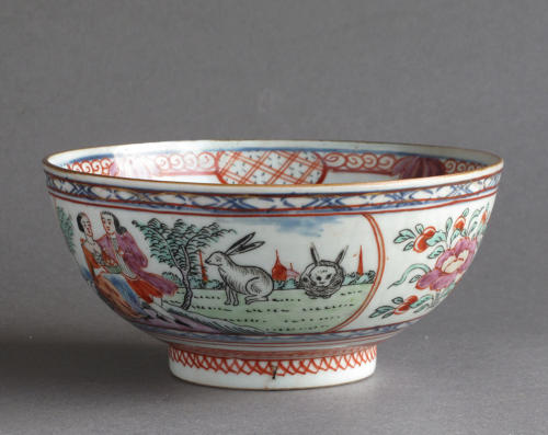 A Chinese bowl with Dutch decoration of people and rabbits, Qianlong