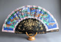 A Chinese export fan with black lacquered wooden sticks, late C19th - picture 1