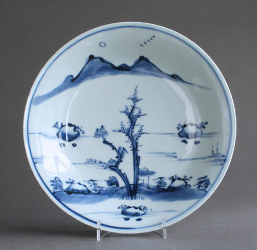 A good Chinese dish with landscape, early Kangxi