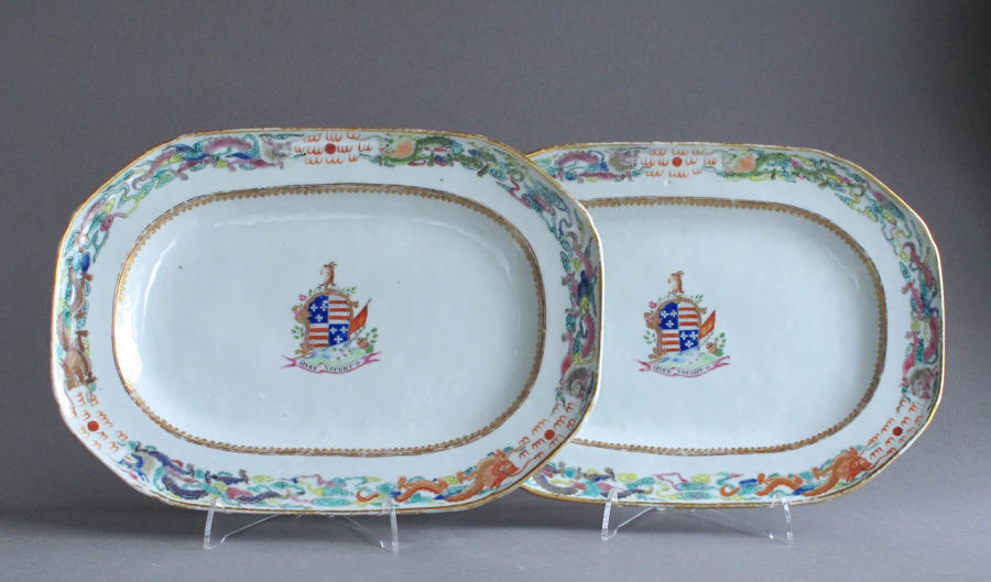 An attractive pair of Chinese export armorial platters, Jiaqing