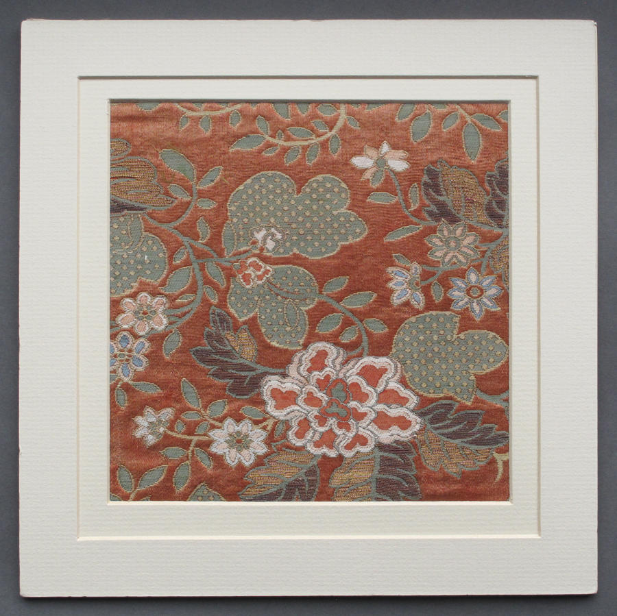 An attractive piece of C19th Chinese silk brocade with paeony design