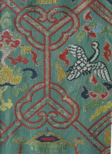 A good Chinese late Ming silk brocade panel with Buddhist emblems