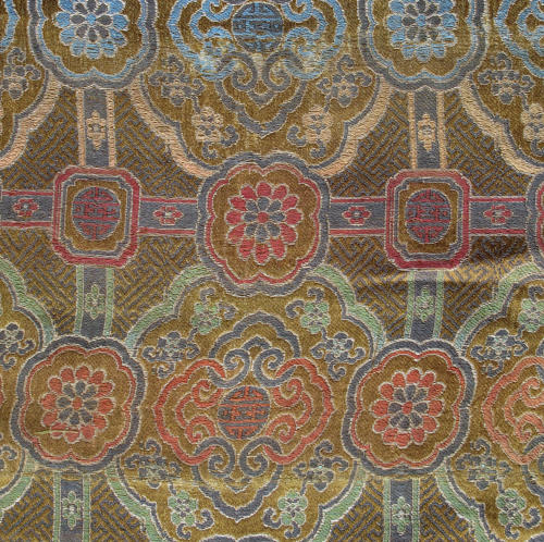 A good Chinese C17th silk lampas weave panel
