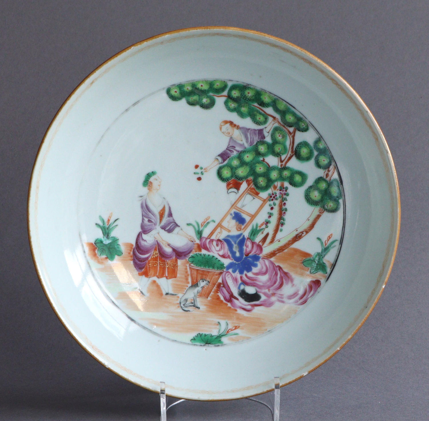 A Chinese export Cherry Picker dish, Qianlong
