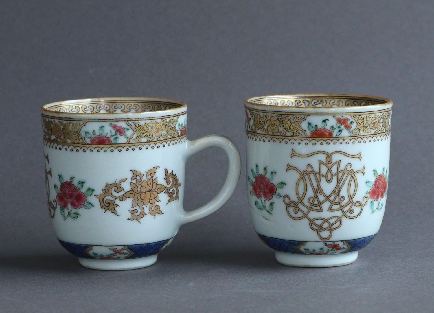 A good pair of Chinese famille rose coffee cups, Qianlong
